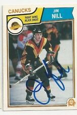 1983/84 O-Pee-Chee Jim Nill Vancouver Canucks Autographed Card