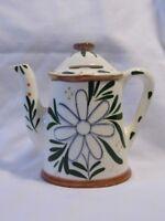 vintage TEA POT art Pottery WALL Pocket BANK Daisy Flower Design