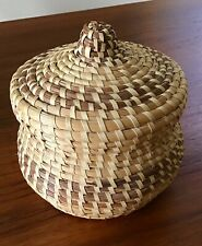 """New ListingVintage Gullah Sweetgrass Basket with Lid Low Country Coil Hand Made 6"""""""