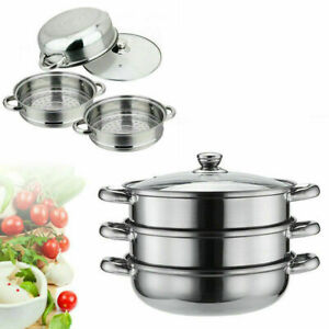28CM 3 TIER INDUCTION HOB STAINLESS STEEL STEAMER POT PAN COOKER SET GLASS LID