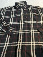 Brooks Brothers Long Sleeve Soft Flannel Button Shirt Black Plaid Mens Sz M Euc