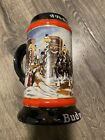 """1992 Budweiser Holiday Beer Stein Mug """"A Perfect Christmas"""" Clydesdale Horses"""