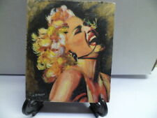 """Madonna"" Hand Painted On Tile With Easel By Artist W. W. Hoffert"