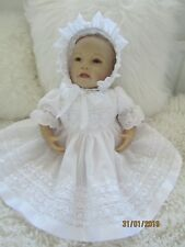 "CLOTHES FOR BAby 3-6mths /REBORN doll 22 "" all white three  piece  set  NEW"