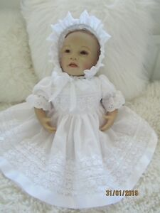 """CLOTHES FOR BAby 3-6mths /REBORN doll 22 """" all white three  piece  set  NEW"""