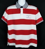 Tommy Hilfiger Performance Pique Polo Shirt Mens Sz L Short Sleeve Striped Logo