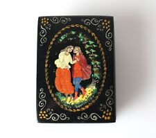 Vintage Russian Lacquer Trinket Box, Mstyora Мстёра Courting Couple Hand painted