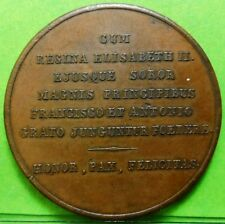 ISABEL II 1846 Medal, matrimonial link with Francisco de Asis  XF+  Copper