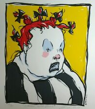 Limited Edition Woman With Bows Hand Printed Serigraph By Andrea Zuill Lowbrow