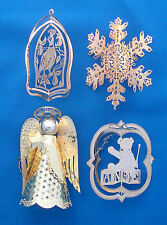 4 gold Christmas ornaments reticulated Angel ANRE Bear partridge & snowflake