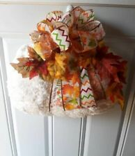 Used Pumpkin Chenille Door Hanger White Autumn