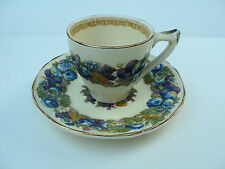 "GORGEOUS SET/10 ROYAL DUCAL ""FLORENTINE GARDEN""  DEMI CUP & SAUCERS, GOLD TRIM"