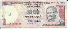 INDIA 1000 RUPEES 2008-2016. VF CONDITION. 5RW 24FEB
