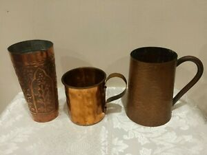 3 mix of Vintage copper jugs/mugs ( from 9cm to 14,5cm height )