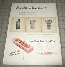 1947 CLARK'S TEABERRY GUM 1-Page Magazine Advertisement Page - LASSIE Reverse Ad