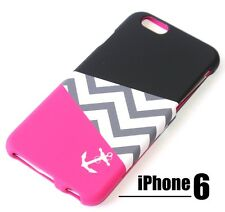 For iPhone 6 / 6S -HARD FITTED SKIN CASE COVER PINK BLACK WHITE CHEVRON / ANCHOR