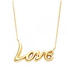 14K Solid Yellow Gold Love Pendant Rolo Chain Necklace Set -Polished Charm Women