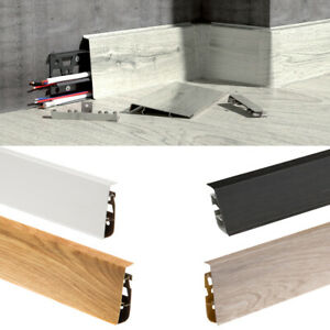 Skirting Board -High Line 2.5m PVC Plastic Skirting Board with Wire Cover Design
