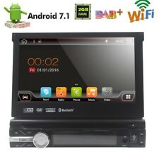 "7"" Single 1 DIN Android 7.1 Flip Up Car DVD Player Stereo Radio Motorized GPS Sa"