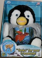 TEDDY TANK PLUSH PENGUIN PLUSH BETTA FISH TANK OR SNACK COIN HOLDER NEW!