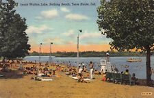 Vtg 1952 POSTCARD TERRE HAUTE IN IZAAK WALTON LAKE BEACH SWIMMING PARK Indiana