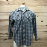 Falcon Bay Mens Shirt Large Gray Red Plaid LS Pearl Snap Western Cowboy B83