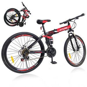 """26"""" MTB Mountain Bike Suspension Spokes Wheel Bicycle 21 Speed Dual Disc Brakes"""