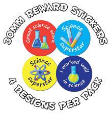 144 x Science award - 30mm Children Reward Stickers - For School Teachers