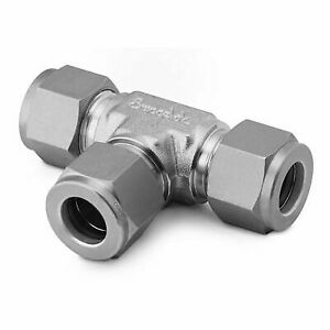 Stainless Steel Swagelok Tube Fitting, Union Tee, 3/8 in. Tube OD