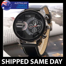 WEITE MENS TRENDY OVERSIZE SPORTS WATCH Gold Silver Military Water Resistant 75