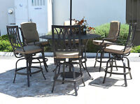 "Outdoor bar set 7 piece cast aluminum furniture Grand Tuscany 60"" round table"