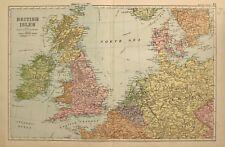 1898 Ancien Carte Îles Britanniques Angleterre Galles Écosse Irlande Belgique