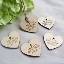 50pcs Personalized name and date Love Heart wooden Wedding Gift  tag baby shower