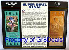 SUPER BOWL 36 ~ PATRIOTS vs RAMS NFL 22 KT GOLD SB XXXVI TICKET Willabee & Ward