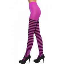 Womens Pink and Black Tights Striped Stockings Fuchsia Elastic Adult Size NEW