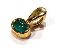 Bijou alliage couleur or pendentif lucite verte serti clos pendant