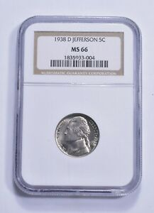 RARE - Graded MS66 1938-D Jefferson Nickel - Graded By NGC *356