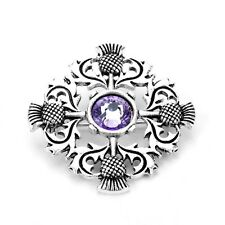 Scottish Thistle Brooch Scotland National Flower with purple stone gift