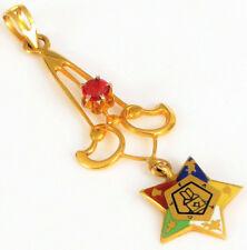 ANTIQUE 10K YELLOW GOLD & RUBY ORDER OF THE EASTERN STAR MASONIC PENDANT MASON !