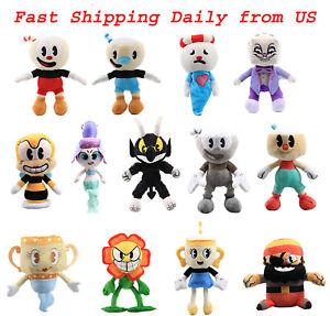 "10"" Cuphead Mugman Series Stuffed Plush Doll Toy Legendary Chalice King Dice"