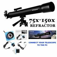 "PRO 150X TELESCOPE + 60"" TRIPOD FOR  LUNAR AND FOR STAR OBSERVATION + PC CAMERA"
