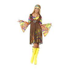 Mujer Hippie 60s Groovy Hippy Multicolor Disfraz Traje Adulto