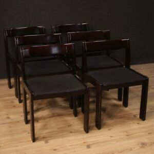 Set Of 6 Chairs Modern Black Design Dining Room Group Chair Office Vintage
