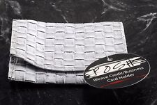 Posh Brand Weave Credit / Business Card Holder Faux Leather NWT Antique White