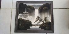 "Screen Fabric Artwork Artist Signed Chinese Japanese Original 18.5x15.5"" Vintage"