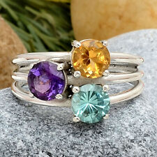 African Amethyst, Paraiba and Citrine 925 Silver Ring s.7 Jewelry 1257
