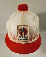 New listing Vtg Golden Harvest Patch Snapback Mesh Pom Pom Puff Ball Hat Rounded Short Bill