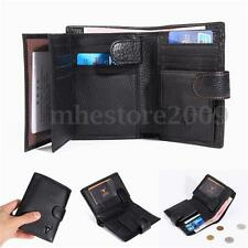 Black Men's Genuine Leather Wallet Purse ID Credit Card Holder Billfold Clutch