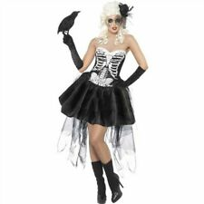 Ladies Halloween Fancy Dress Skeleton Bones Outfit Dress and Hat Size 10