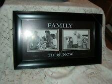 """Picture Frame Family Then And Now Wood Frame Matted 10"""" X 17"""" New Memories"""